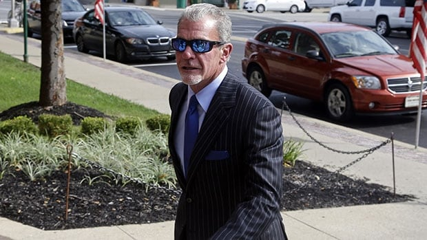 Indianapolis Colts owner Jim Irsay arrives at Hamilton County court in Noblesville, Ind., on Tuesday.