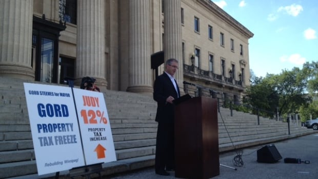 Winnipeg mayoral hopeful Gord Steeves came out swinging against the NDP and fellow candidate Judy Wasylycia-Leis on Wednesday. He criticised the former NDP MLA for her ties to the provincial party.