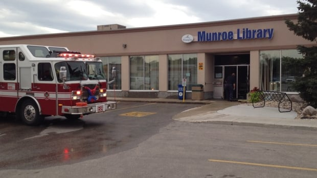 Winnipeg fire crews at the Munroe Library late Wednesday afternoon.