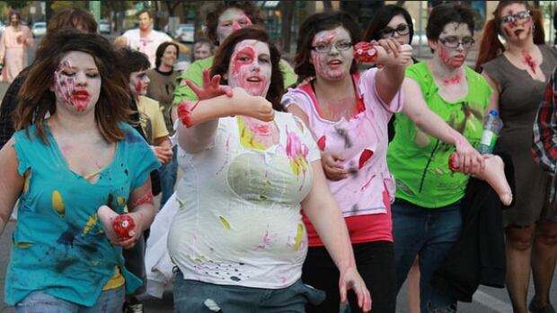 The annual Regina Zombie Walk raises donations for the local food bank.