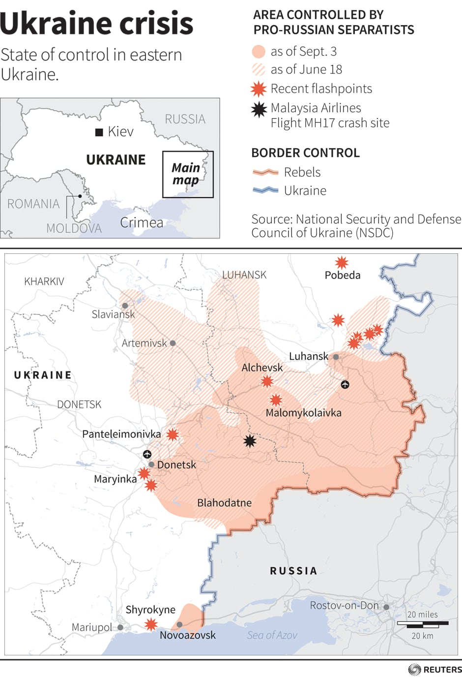Ukraine map showing recent clashes between pro-Russian separatists and Ukrainian forces.