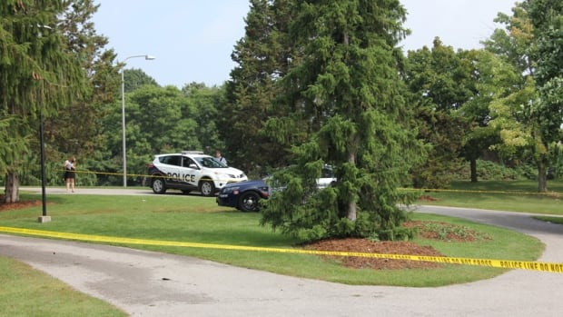Police tape surrounds the area where a female first-year University of Waterloo student was struck and killed by lightning on Friday morning.