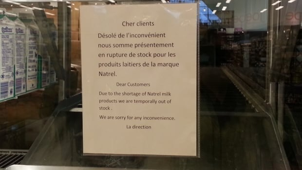 A sign at a Loblaws grocery store on Cavendish Boulevard saying there's a shortage of Natrel milk products.