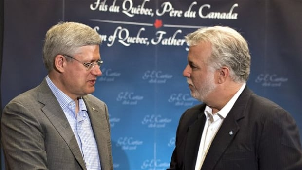 Prime Minister Stephen Harper and Quebec Premier Philippe Couillard were in Quebec City for an event commemorating the 200th anniversary of the birth of Sir George-Etienne Cartier.