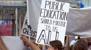 Teachers rally Canada Place