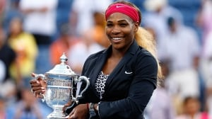 NEW YORK, NY - SEPTEMBER 07:  Serena Williams of the United States celebrates with the trophy after defeating Caroline Wozniacki of Denmark to win their women's singles final match on Day fourteen of the 2014 US Open at the USTA Billie Jean King National Tennis Center on September 7, 2014 in the Flushing neighborhood of the Queens borough of New York City. Williams defeated Wozniacki in two sets by a score of 6-3, 6-3.