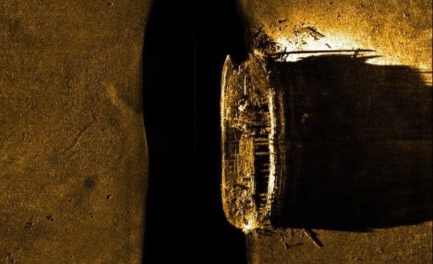 Sea floor scan of Franklin ship