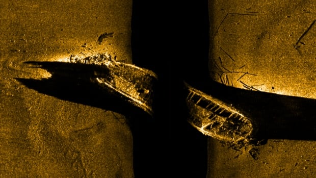 A sea floor scan reveals one of the missing ships from the Franklin Expedition in an image released in Ottawa on Tuesday September 9, 2014.