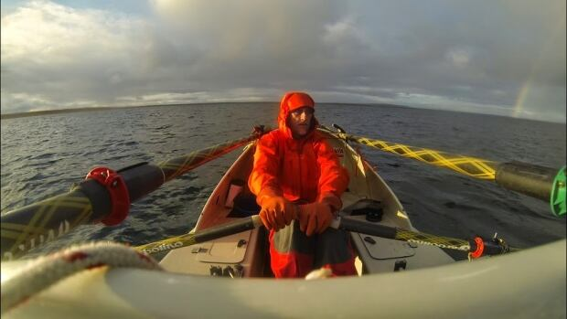 French adventurer Charles Hedrich rows near Cambridge Bay, Nunavut, earlier this summer.