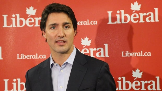 Justin Trudeau speaks to the press after an event held by the Federation of Students at the University of Waterloo.