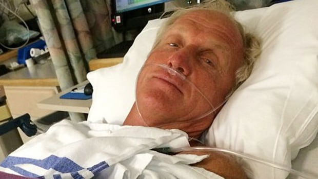 Hall of Fame golfer Greg Norman rests in a hospital bed Sunday after a chainsaw accident. Norman was cutting back trees in his South Florida home when the ... - norman-greg-07029880