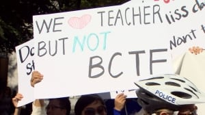 B.C. teachers' strike - anti-union signs