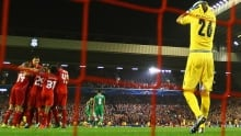 Milan Borjan allows Steven Gerrard's winning goal for Liverpool