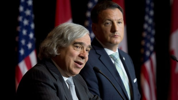 Ernest Moniz, the U.S. Secretary of Energy (left) and Natural Resources Minister Greg Rickford signed a memorandum of understanding on bilateral energy co-operation during their talks in Ottawa Thursday.