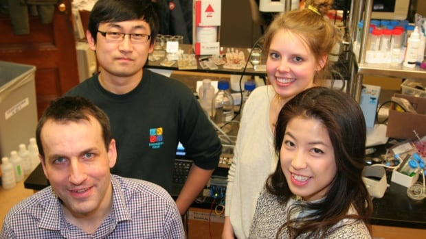 The printer was developed by (clockwise from top right) University of Toronto students Arianna Mcallister and Lian Leng; former student Boyang Zhang and University of Toronto associate professor Axel Guenther.
