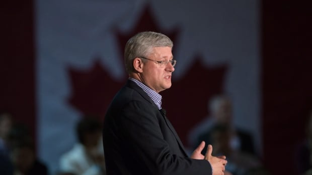 Prime Minister Stephen Harper speaks at a Conservative members event at the Canadian Warplane Heritage Museum in Mount Hope, Ont. on Thursday, Sept. 18, 2014.