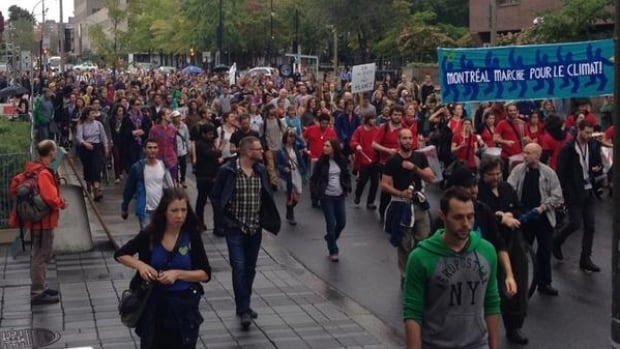 Thousands of Montrealers participated in the People's Climate March Sunday, one of hundreds of similar marches in cities around the world.