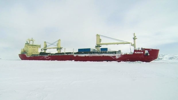 The MV Nunavik at Deception Bay, Que., in winter 2014. The ship left Deception Bay on Friday, carrying a shipment of nickel from Nunavik to China through the Northwest Passage.