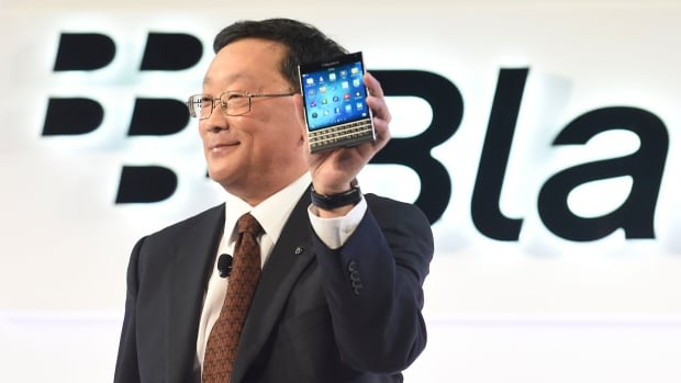 BlackBerry reported a $207-million loss on Friday, as well as a drop in revenues, but CEO John Chen, shown during the release earlier this week of the Passport smartphone, called it a 'solid quarter' and predicted the company would break even on cash flow by the end of the year.