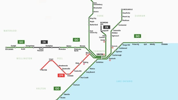 An updated map from Metrolinx shows the portion of the rail line between Kitchener and Georgetown now owned by the provincial transit authority, to be used to increase GO Transit Service.