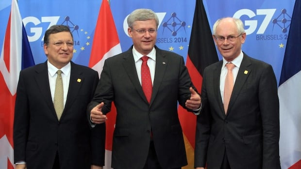 European Commission President Jose Manuel Barroso, left, and European Council President Herman Van Rompuy, right, will be Prime Minister Stephen Harper's guests on Parliament Hill Friday as they celebrate the end of negotiations for the Canada-EU trade deal.