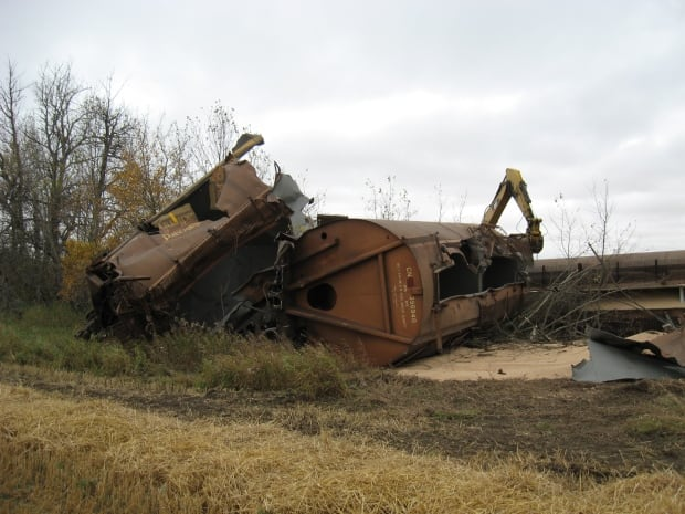 Officials with CN say a preliminary count shows 17 train cars full of dried peas derailed near Vermilion, Alta.