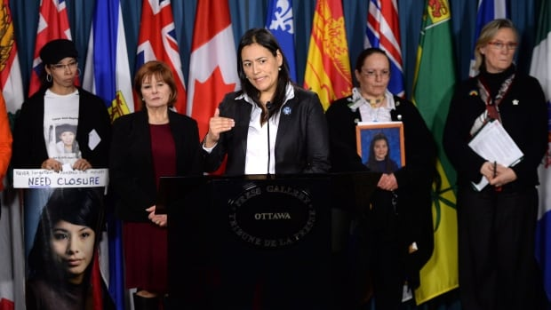 Michele Audette, centre, who has called on the government to act on violence against aboriginal women, is seeking a Liberal nomination in Quebec. Liberal MP Carolyn Bennett, far right, has been working with aboriginal members of the party to recruit candidates.