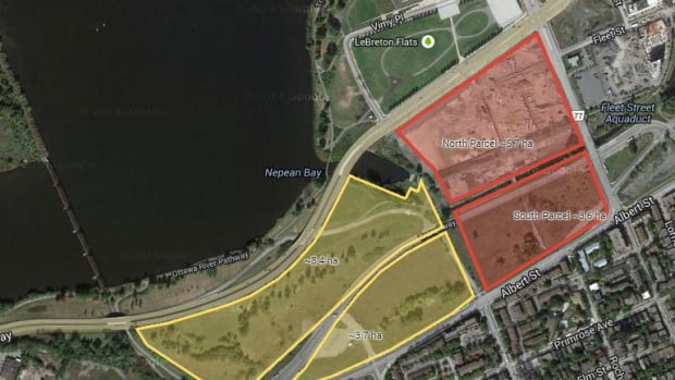The parcels in red are the minimum 9.3 hectares of land to be developed by the winning proposal, while the yellow parcels feature an optional 12 hectares of additional land.