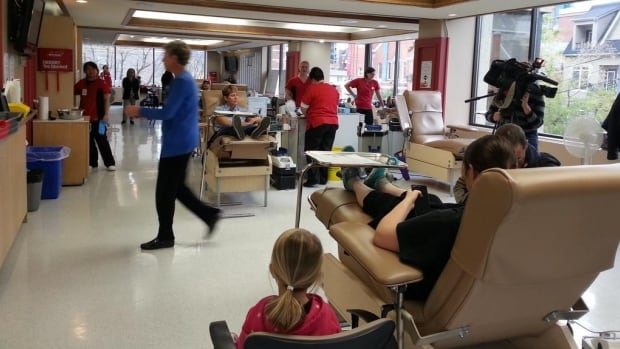 A donor room in Calgary was busy Tuesday after the call went out to help fill a critical shortage of blood.
