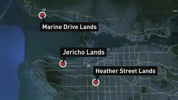 The $307-million deal includes the Jericho Lands, where a Canadian Forces garrison is currently sited, an area west of Heather Street between West 33rd and West 37th Avenues and a small parcel of land on Marine Drive at Burkehill Road in West Vancouver.