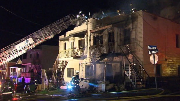 A two-storey building in Beauharnois was heavily damaged in an overnight fire.