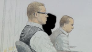 Surrey Six courtroom sketch - Matthew Johnston and Cody Haevischer