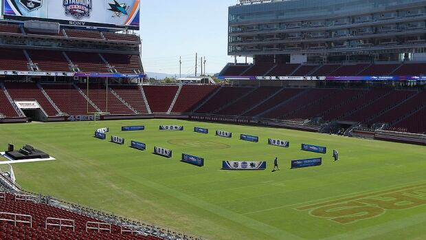 Barricades are positioned on the field where the Sharks and Kings will play a Feb. 21 outdoor game at Levi's Stadium in Santa Clara, Calif. Only about 5,000 tickets remain for the game at the 68,500-seat stadium, the new home of the NFL's San Francisco 49ers.