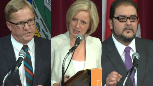 David Eggen (left), Rachel Notley and Rod Loyola are running to replace Brian Mason as leader of the Alberta NDP.