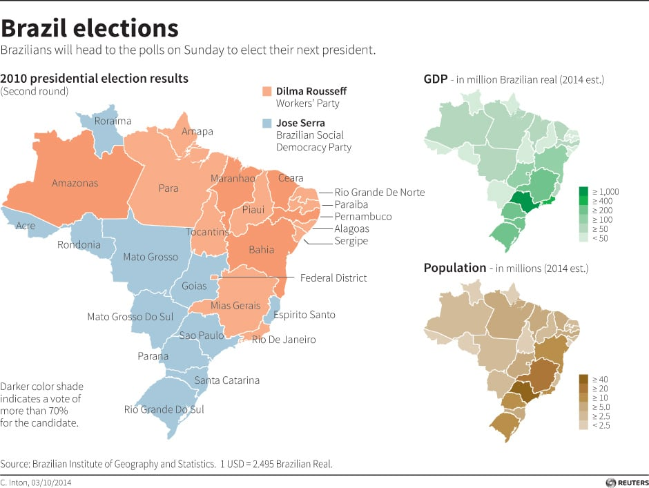 Brazil Presidential Election By The Numbers CBC News Latest - Brazil election map