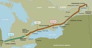 Enbridge pipeline Line 9 map
