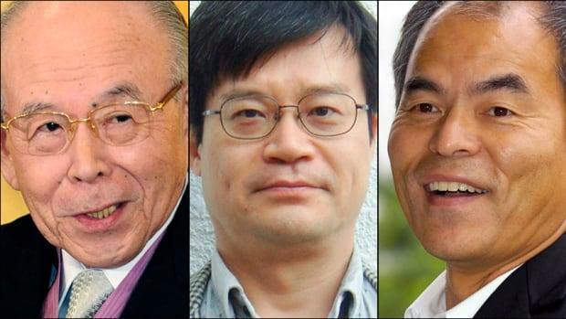 Isamu Akasaki, 85, left, Hiroshi Amano, 54, centre, and Shuji Nakamura, 60, have won the 2014 Nobel Prize in physics for the invention of blue light-emitting diodes.