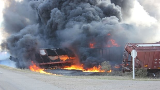 Wadena News editor Allison Squires took photos at the derailment and fire next to Highway 5 before being told to leave the area.