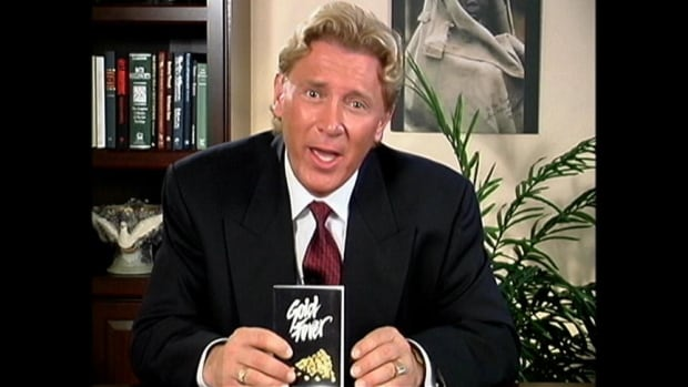 Former evangelist Len Lindstrom had his own television show called 'Miracles for You' based in Kelowna. Here he is promoting a book he wrote about gold fever in the Klondike years before he started his African gold mining venture.