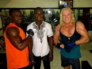 Len Lindstrom at the gym in Liberia