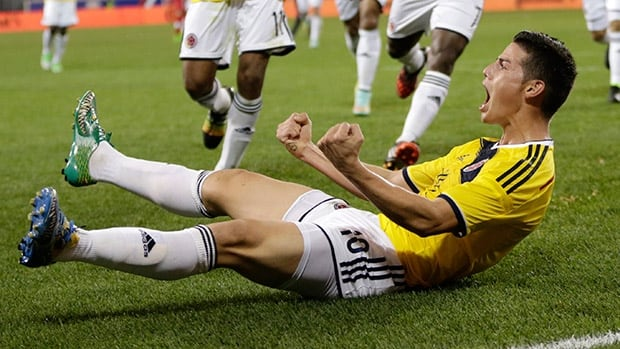 Colombia's James Rodriguez celebrates after scoring a goal against Canada during the second half of an international soccer friendly match Tuesday in Harrison, N.J.