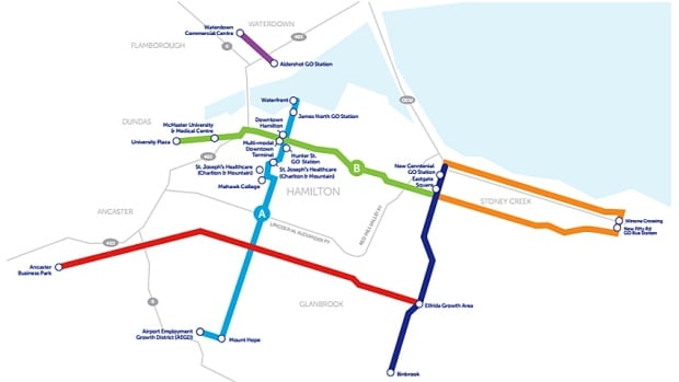 Mayoral candidate Brad Clark released an eight-year transit plan for Hamilton Wednesday morning, along with a map showing his preferred lines.