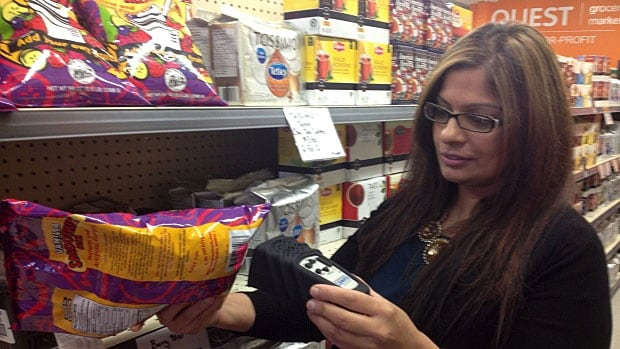 Pardeep Khrod says the Quest Food Exchange's visually impaired customers have had a lot of fun using the audio scanner. The device scans the product barcode and tells customers what they are holding.