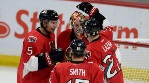 Ottawa Senators celebrate win over Colorado Avalanche