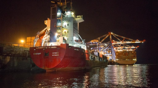 The Simushir, a Russian cargo ship, is shown in port in Prince Rupert, B.C. The Simushir had to be towed into port early Monday, Oct. 20, 2014 by a U.S. tug.