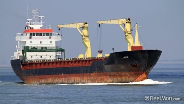 The cargo ship Jana, seen in this undated photo posted to the maritime transport website Fleetmon, is currently docked in Argentia with an unpaid crew.