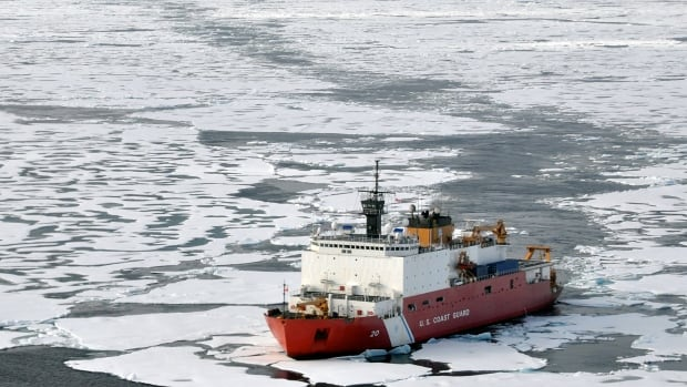 U.S. Goast Guard cutter Healy breaks ice ahead of the Canadian Coast Guard ship Louis S. St-Laurent in the Arctic Ocean. Scientists say international collaboration is an important part of their work, but is being hampered by Canadian government policies.