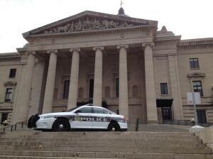 Police on steps of legislature