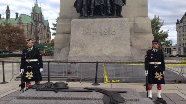 Twitter user ‏@kamakazi19982 posted this photo online Wednesday morning with the message 'OK, so we were on a tour at that war monument in Ottawa a few minutes ago, a few seconds later there was a shooting.'