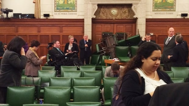 A picture of the Conservative Party caucus room barricaded with chairs was tweeted by MP Nina Grewal shortly after the shooting began on Parliament Hill. Newly disclosed documents show severe communications problems hit emergency personnel as thousands of nervous public servants tried to contact families and others when police locked down core buildings in the capital for hours.